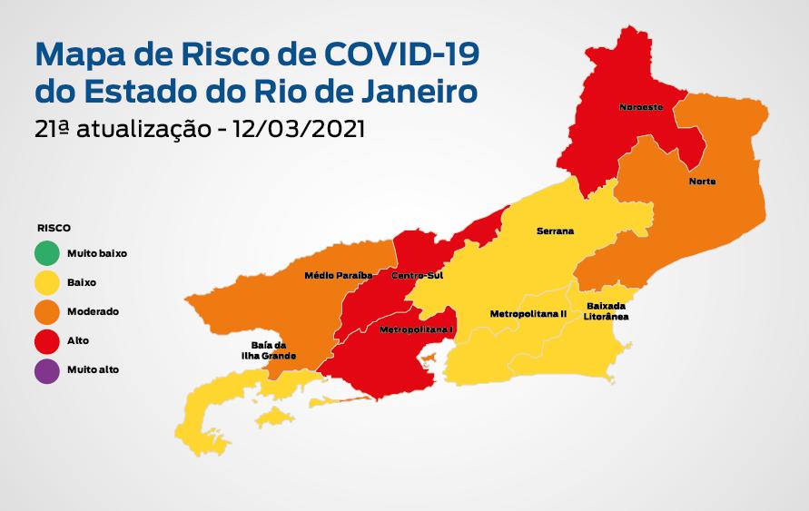 21ª atualização -  Mapa de risco da Covid-19: estado apresenta bandeira laranja com risco moderado
