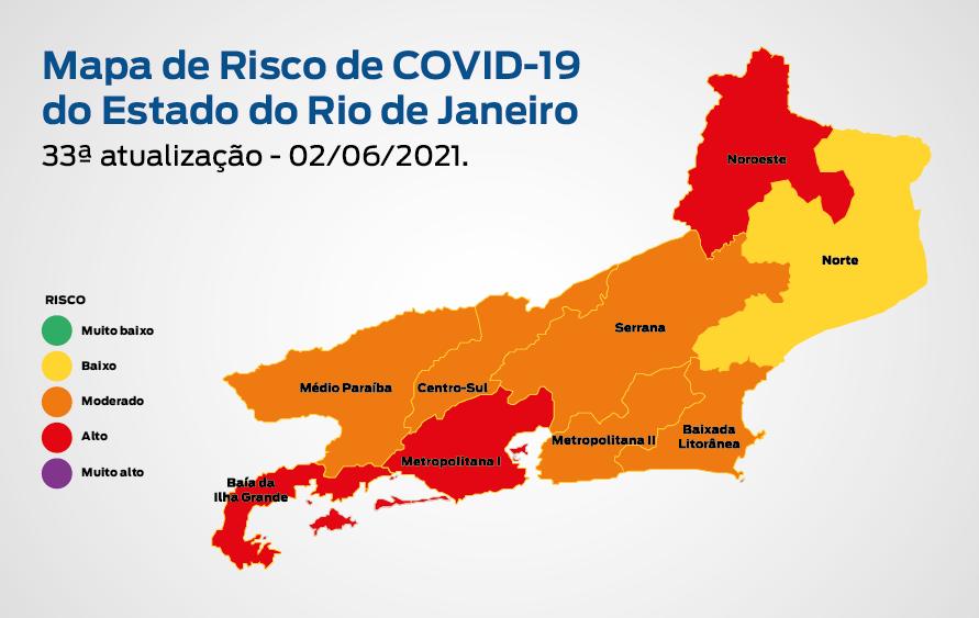 Mapa de Risco Covid-19: estado do Rio de Janeiro permanece em bandeira laranja