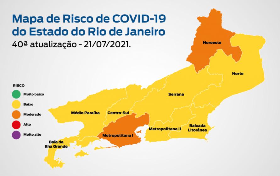 Mapa de Risco Covid-19: estado do Rio de Janeiro mantém bandeira amarela, com risco baixo de transmissão da doença