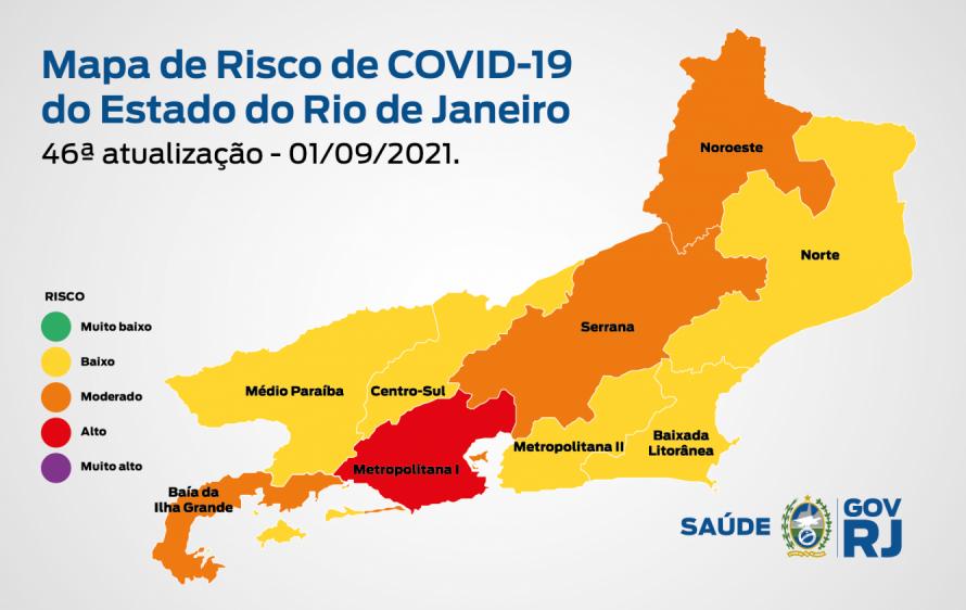 Mapa de Risco Covid-19: estado do Rio de Janeiro tem queda no número de internações e óbitos